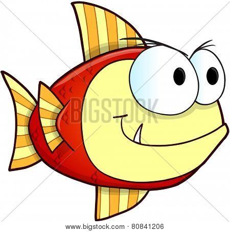 Mean Nasty Fish Vector Illustration Art
