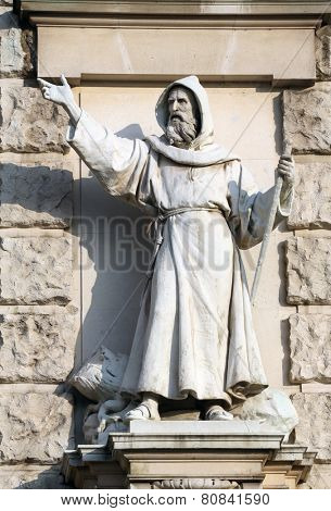VIENNA, AUSTRIA - OCTOBER 10: Carl Kundmann: Evangeliser, on the facade of the Neuen Burg on Heldenplatz in Vienna, Austria on October 10, 2014.