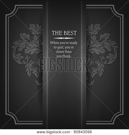 Beautiful elegant background with lace floral ornament and place for text. Design elements, ornate background. Vector illustration