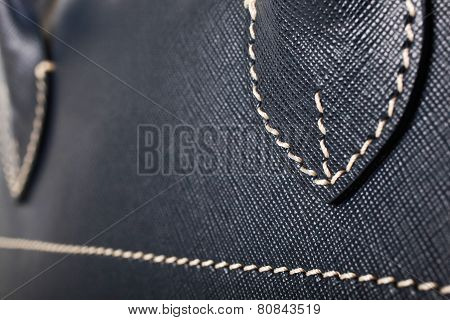 Blue Stitched Leather