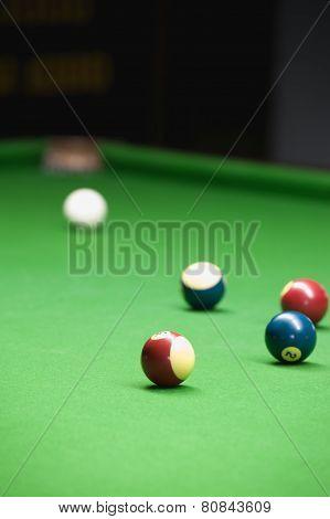 Billiard Game On Green Table
