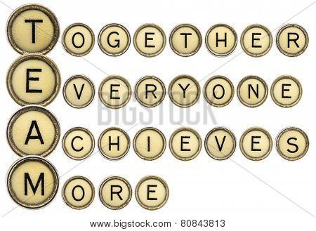 team acronym (together everyone achieves more)  in old round typewriter keys isolated on white