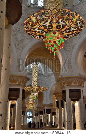 The Lamp In Sheikh Zayed Mosque. Abu Dhabi, United Arab Emirates