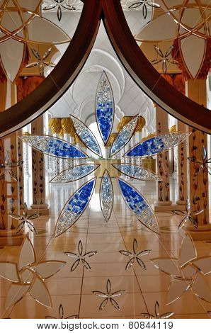 Stained-glass Window In Sheikh Zayed Mosque, Abu Dhabi, United Arab Emirates
