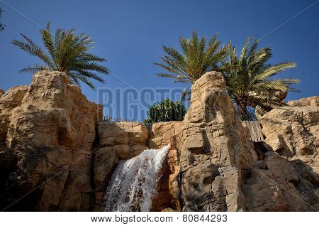 A Waterfall In The Park In Dubai, United Arab Emirates