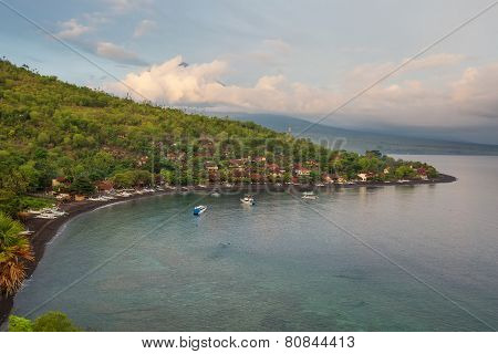 Volcano Agung and Amed beach Bali Indonesia