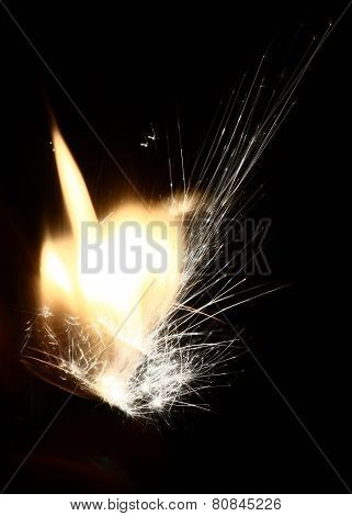 beautiful hot sparks silicon fly out of the lighter.