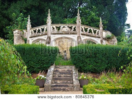 Park stairs in Castle Combe park, UK