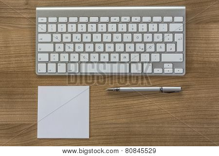 Modern Keyboard On A Desktop