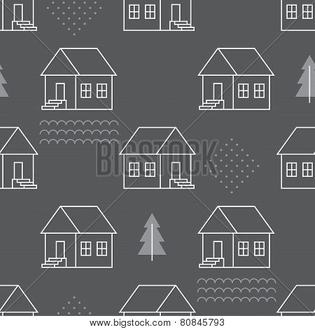 Seamless pattern with country houses.