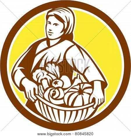 Female Organic Farmer Basket Harvest Retro