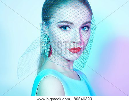 Portrait Of Young Beautiful Woman Close Up