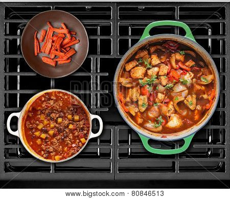 Cooked Food On A Gas Stove