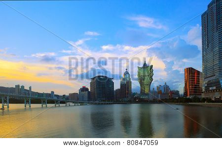 Macau China - August 22- Important Landscape Of Macau Landmark Building In Beautiful Evening Light O