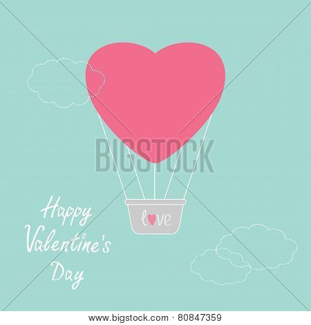 Hot Air Balloon In Shape Of Heart Dash Line Clouds Flat Design Happy Valentines Day Card