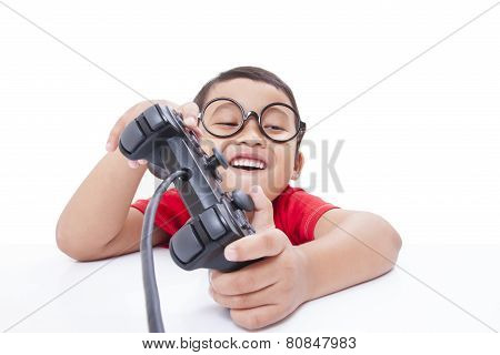 Boy playing video game