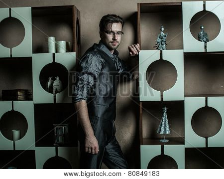 Fashion young man in luxury modern interior