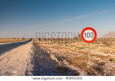 Speed limit sign at the road