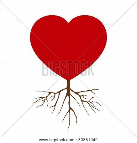 Vector Love Heart With Root Design