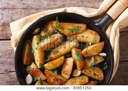 Potatoes Fried In A Pan, Horizontal Top View Closeup, Rustic