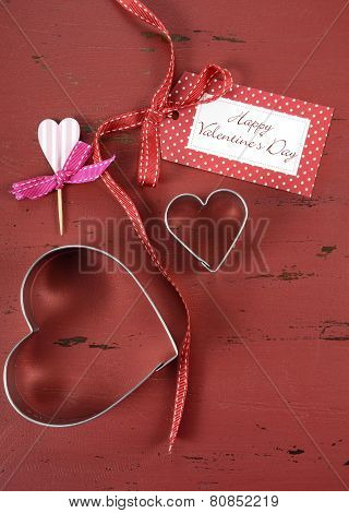Happy Valentines Day Red Vintage Wood Background With Heart Shape Cookie Cutters And Cupcake Toppers