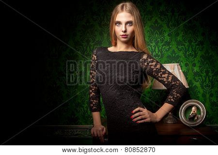Luxury Vintage Interior And Sensual Woman In Black Dress