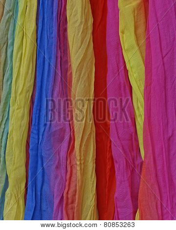 variety of colorful fabrics closeup