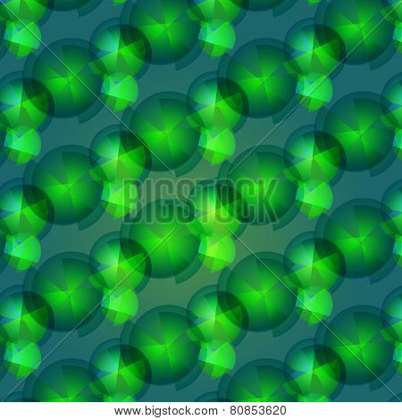 Seamless Pattern Of  Green Small Geometric Shapes
