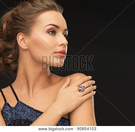 beautiful woman in evening dress with cocktail ring