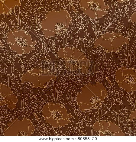 Retro pattern of gold poppies