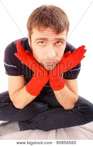 Handsome Man With Red Gloves
