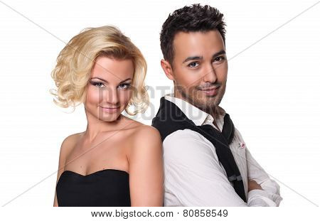 beautiful couple in love on a white background