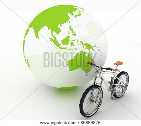 Bicycle and globe. Conception of tourism on an ecological transport
