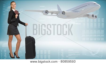 Businesswoman with suitcase and passport. Image of flying airlin