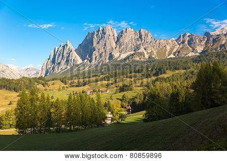 Mountain Panorama in Dolomites, Cortina d'Ampezzo, Italy