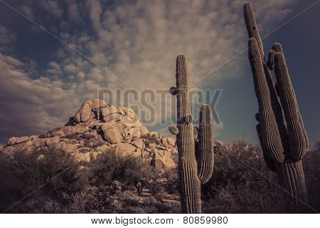 Desert landscape mountains dramatic sky, Scottsdale,Arizona