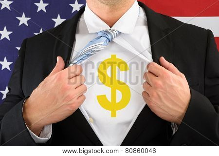 Businessman Pulling His Shirt Showing Dollar Sign