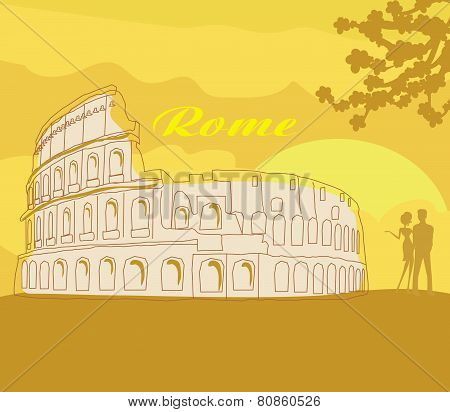 Couple Silhouette In Front Of Colosseum In Rome