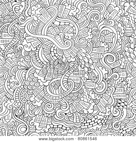 hand drawn town. seamless pattern