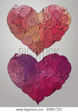 Hand drawn curled vector heart set