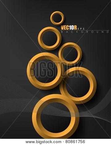 modern overlapping different sizes golden rings, black background, flowing strings elegant design, eps10 vector