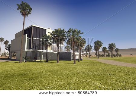3D Rendering of Contemporary luxury tropical villa with a flat roof rectangular design and white walls in a large landscaped garden with palm trees and manicured lawns