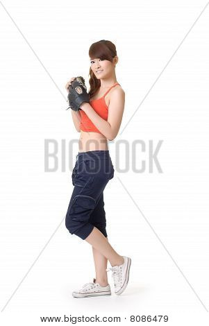Sport Girl With Baseball Glove
