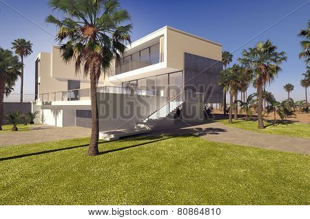 3D Rendering of Modern geometric luxury tropical villa with white washed walls and a landscaped garden with lawns and palm trees, exterior view on a sunny blue sky day