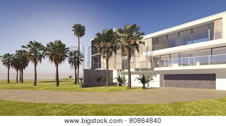 3D Rendering of Large modern multi-storey house on a luxury estate with manicured lawns and tropical palm trees, panoramic view on a blue sky sunny day