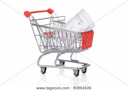 Shopping Trolley With Rolled Receipts