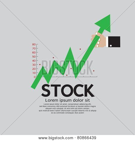 Stock Shares Raise Up Vector Illustration Conceptual.