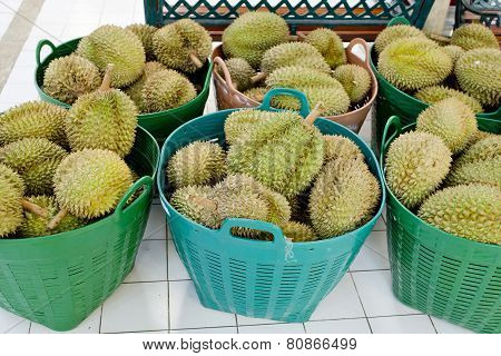 Durian In Basket At Thailand's Market