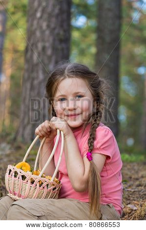 Little Girl Pick Up Mushrooms In Forest