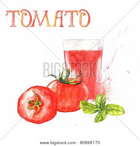 Watercolor illustration with tomatoes fruits, glass with tomato juice and basil leaves